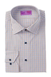 Lorenzo Uomo Long Sleeve Trim Fit Checkered Dress Shirt Multi