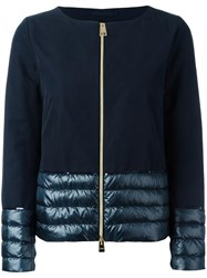 Herno Padded Detail Zipped Jacket Blue