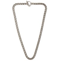 Saint Laurent Sterling Silver Curb Chain Necklace Silver