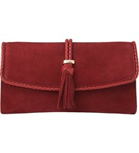 Lk Bennett Tracy Leather Clutch Bro Rust