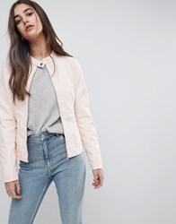 Vila Leather Look Collarless Jacket Peach Blush Pink