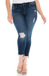 Slink Jeans Plus Size Women's Ripped High Low Ankle