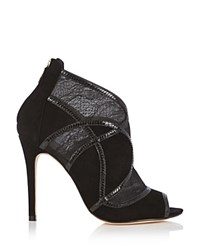 Karen Millen Lace Open Toe High Heel Booties Black
