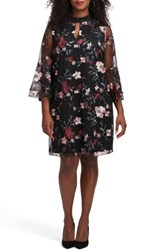 Eci Plus Size Women's Floral Embroidered Mesh A Line Dress Black Blush