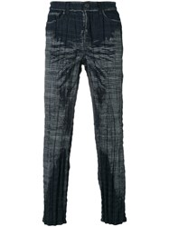 Issey Miyake Woven Check Trousers Men Cotton Polyester 3 Blue