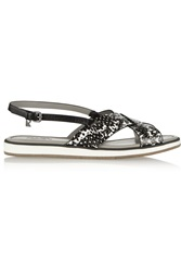 Karl Lagerfeld Snake Effect Leather Sandals