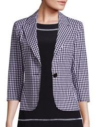 St. John Stretch Cotton Gingham Blazer