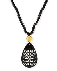 Black Tiger's Eye Necklace With Horn Pendant Nest Jewelry