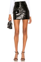 1.State Crackle Patent Leather Skirt Black