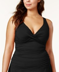 Anne Cole Plus Size Ruched Tankini Top Women's Swimsuit Black