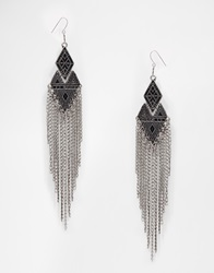 Pieces Chain Drop Earrings Silver