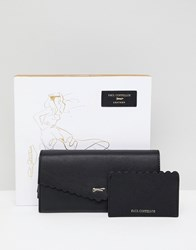 Paul Costelloe Real Leather Scallop Purse And Card Holder Gift Set Black