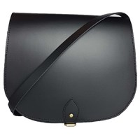 N'damus London Large Leather Black Saddle Bag