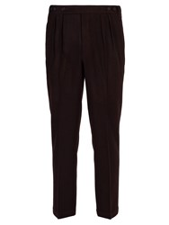 Massimo Alba Micro Houndstooth Wool Trousers Red