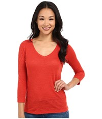 Pendleton Petite 3 4 Sleeve V Neck Tee Cayenne Women's Long Sleeve Pullover Red