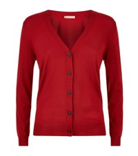 Burberry Check Detail Merino Wool Cardigan Female Red