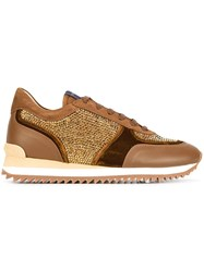 Le Silla Crystal Embellished Sneakers Brown