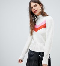 River Island Jumper With Chevron Detail In Ivory White