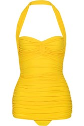 Norma Kamali Bill Mio Ruched Halterneck Swimsuit Yellow