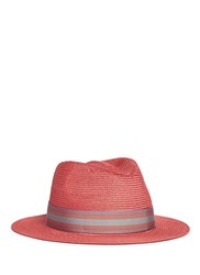 My Bob 'Folco' Stripe Ribbon Band Straw Fedora Hat Pink