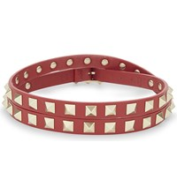 Valentino Rockstud Leather Choker Red