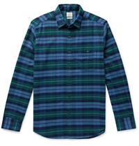 Faherty Checked Organic Stretch Cotton Shirt Blue