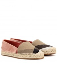 Burberry Hodgeson Suede And Check Espadrilles Pink