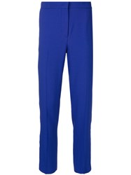 Msgm Cropped Tailored Trousers Women Polyester Acetate Viscose 42 Blue
