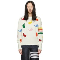 Thom Browne White Intarsia Whale Sweater