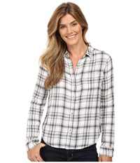 Calvin Klein Jeans Plaid Crinkle Double Cloth Long Sleeve Woven Classic White Women's Long Sleeve Button Up Beige