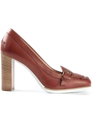 Tod's Fringed Chunky Heel Loafers Red