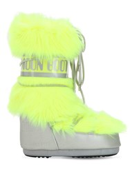 Moon Boot Long Faux Fur Snow Boots Lime Green