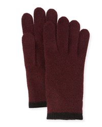 Portolano Cashmere Gloves W Contrast Tipping Bordeaux Black
