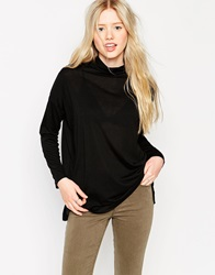 Brave Soul Long Sleeve High Neck Top Black