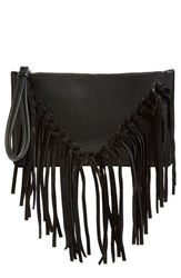 Sole Society Suede Fringe Clutch Black