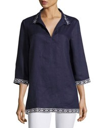 Neiman Marcus Embroidered Split Neck Tunic Navy