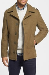Men's Schott Nyc Slim Fit Wool Military Jacket Olive