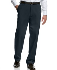 Haggar Classic Fit Microfiber Performance Flat Front Dress Pants Navy