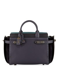 Coach Swagger 27 Mixed Leather Satchel Bag Navy Black