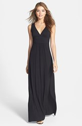 Petite Women's Loveappella V Neck Jersey Maxi Dress Black