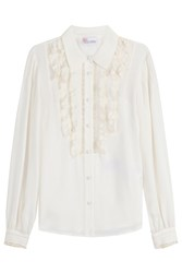 Red Valentino Silk Blouse With Lace Ruffle Trim White