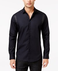 Inc International Concepts Men's Ecstatic Studded Long Sleeve Shirt Only At Macy's Black