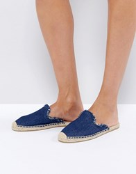 Soludos Denim Frayed Mules Dark Denim Navy