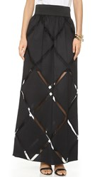Milly Diamond Fil Maxi Skirt Black