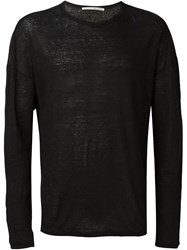 Isabel Benenato Semi Sheer Long Sleeve Jumper Black