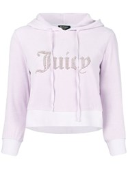 Juicy Couture Swarovski Personalisable Velour Hooded Pullover Pink And Purple