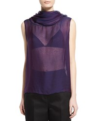 The Row Aurent Cowl Neck Sleeveless Top Grape Purple