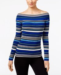 Inc International Concepts Reversible Off The Shoulder Striped Sweater Only At Macy's Goddess Blue