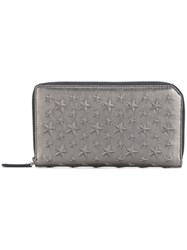 Jimmy Choo Carnaby Star Embossed Wallet Men Calf Leather One Size Metallic