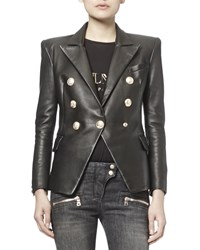 Balmain Classic Leather Double Breasted Blazer Size 31 Black